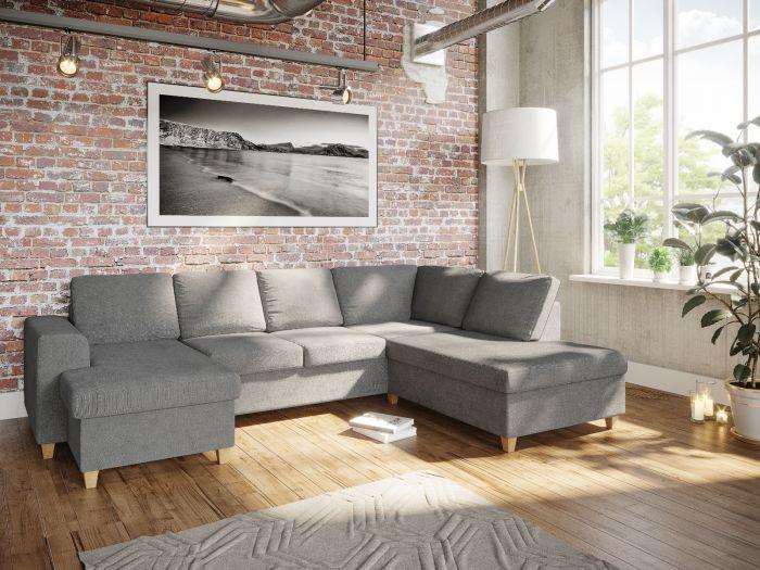 Holmsbu D3A U-soffa med sjeselong - lys grå
