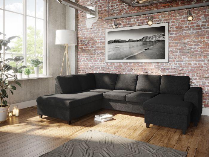 Holmsbu A3D U-soffa med sjeselong - antrasitt