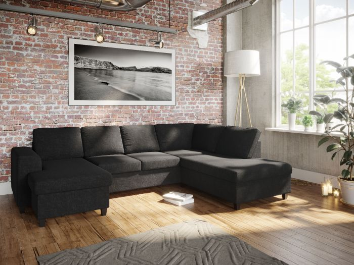 Holmsbu D3A U-soffa med sjeselong - antrasitt