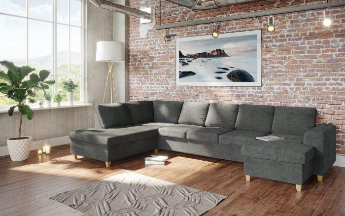 Holmsbu A4D U-soffa med sjeselong - mørk grå