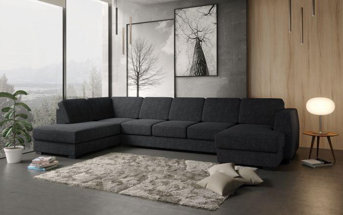 Risør A4D U-soffa med sjeselong - antrasitt