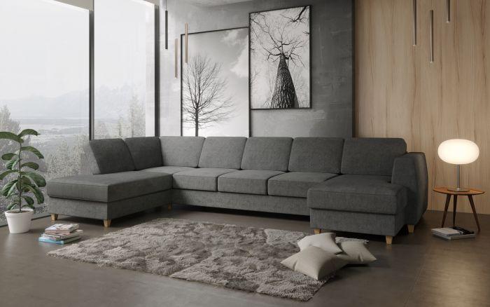 Risør A4D U-soffa med sjeselong - mørk grå
