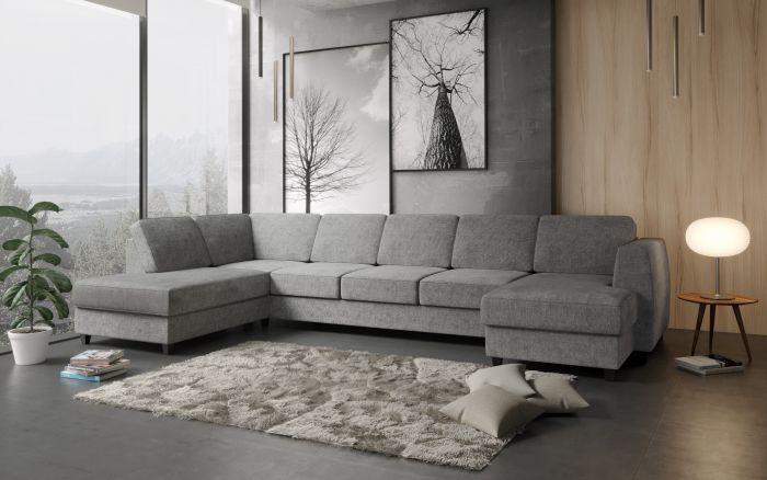Risør A4D U-soffa med sjeselong - lys grå