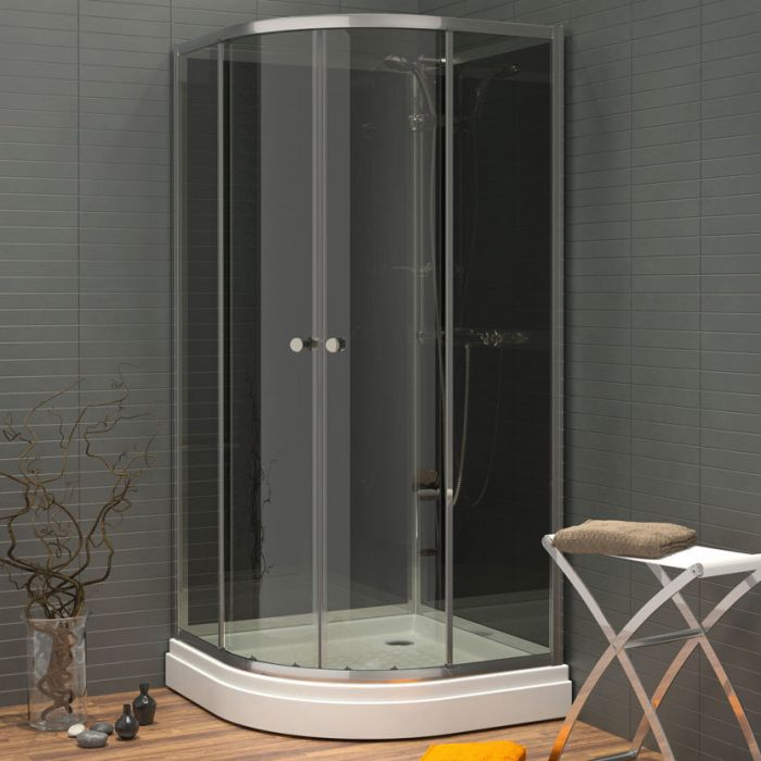 Waterlux silikonfri duschkabin rund 80x80 låg höjd 180 cm grå