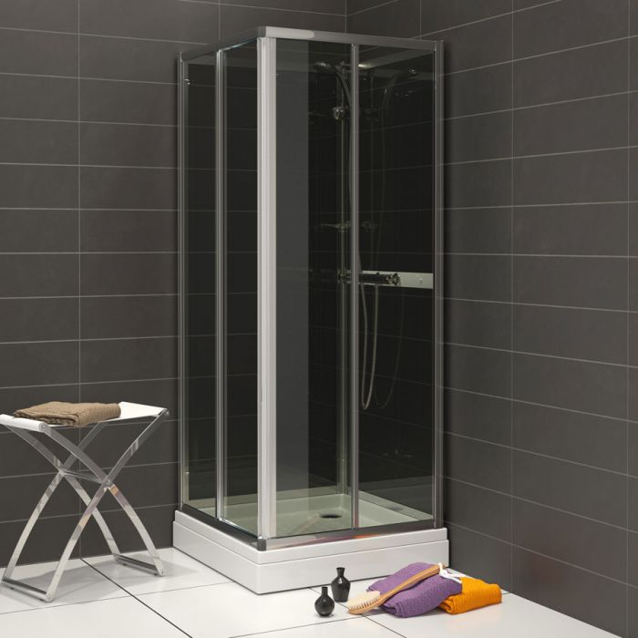 Waterlux duschkabin fyrkantigt 80 cm grå