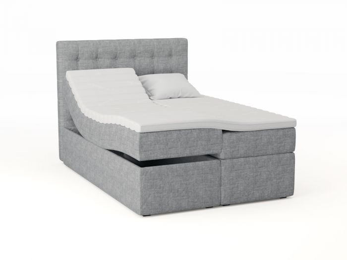 Premium ställbar säng 140x200 - lys grå