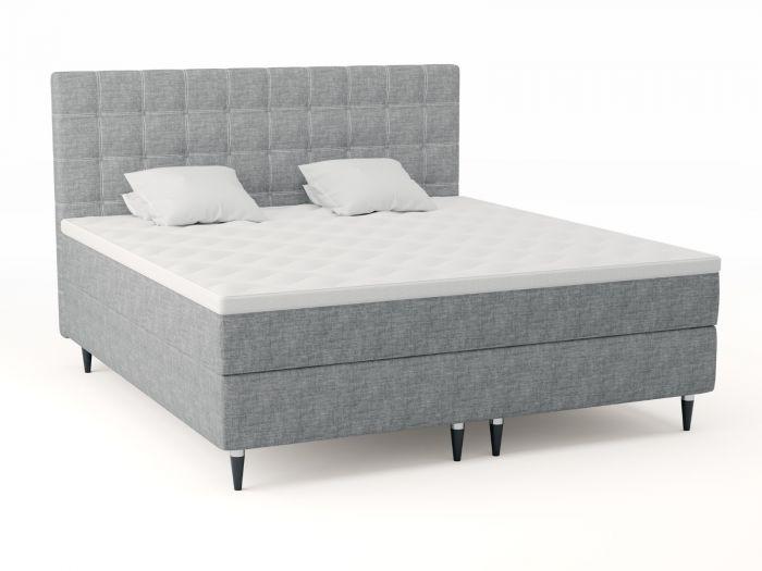 Premium kontinentalsäng 200x210 - lys grå
