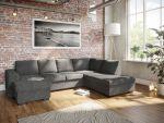 Holmsbu D3A U-soffa med sjeselong - mørk grå