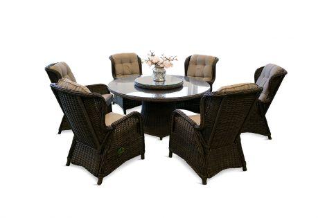 Karibia rund bord och 6 recliners - chockladbrun