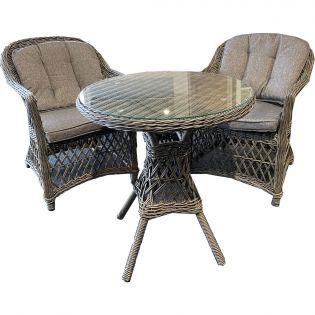 Romantik matgrupp/cafégrupp med 2 stolar och runt bord i en gråmix