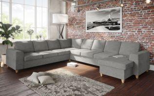 Holmsbu D4C3/3C4D vendbar hörnsoffa med sjeselong - lys grå