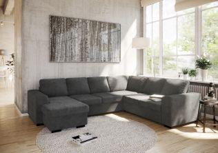 Holmsbu D3C2/2C3D vendbar hörnsoffa med sjeselong- mørk grå