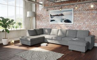 Holmsbu A4D U-soffa med sjeselong - lys grå
