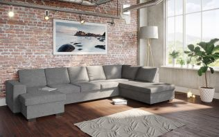 Holmsbu D4A U-soffa med sjeselong - lys grå