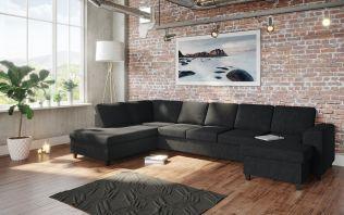 Holmsbu A4D U-soffa med sjeselong - antrasitt