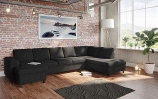 Holmsbu D4A U-soffa med sjeselong - antrasitt