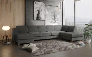 Risør D4A U-soffa med sjeselong - mørk grå