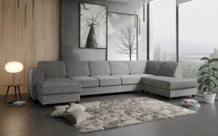 Risør D4A U-soffa med sjeselong - lys grå