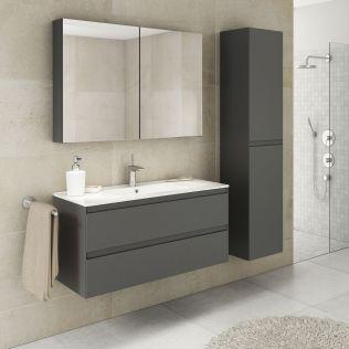 NoraDesign 100 cm badrumsmöbel grå matt