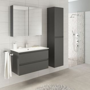 NoraDesign 80 cm badrumsmöbel grå matt