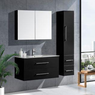 LindaDesign 100 cm badrumsmöbel svart högglans