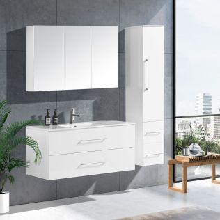 LindaDesign 120 cm badrumsmöbel vit högglans