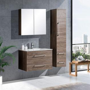 LindaDesign 80 cm badrumsmöbel grå alm