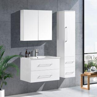 LindaDesign 80 cm badrumsmöbel vit högglans