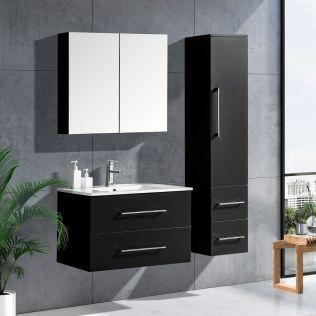 LindaDesign 80 cm badrumsmöbel svart högglans