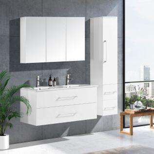 LindaDesign 120 cm badrumsmöbel dubbel vit matt