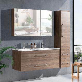 LindaDesign 120 cm badrumsmöbel dubbel grå alm