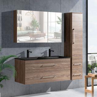 LindaDesign 120 cm badrumsmöbel dubbel i grå alm m/svart handfat