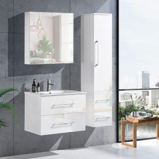 LindaDesign 60 cm badrumsmöbel vit högglans