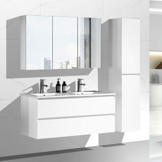 NoraDesign 120 cm badrumsmöbel dubbel mattvit