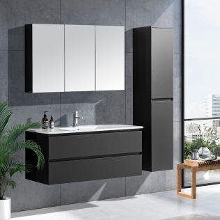 NoraDesign 120 cm badrumsmöbel single grå matt