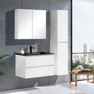 NoraDesign 80 cm badrumsmöbel i vit matt m/svart handfat