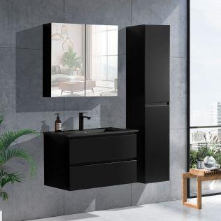 NoraDesign 80 cm badrumsmöbel i svart matt m/svart handfat