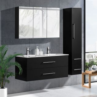 LindaDesign 120 cm badrumsmöbel dubbel svart matt