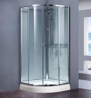 Waterlux silikonfri duschkabin rund 90x80 cm