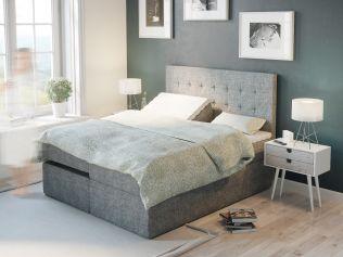 Premium ställbar säng 180x200 - lys grå