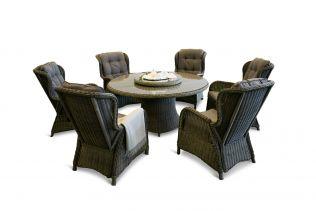 Karibia rund bord och 6 recliners-gråmix