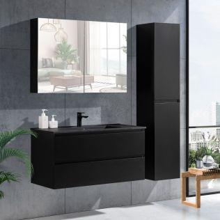 NoraDesign 100 cm badrumsmöbel i svart matt m/svart handfat
