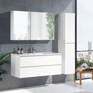 NoraDesign 120 cm badrumsmöbel single vit matt