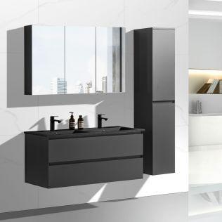 NoraDesign 120 cm badrumsmöbel dubbel mattsvart m/svart handfat