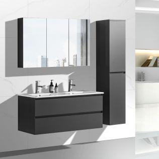NoraDesign 120 cm badrumsmöbel dubbel mattgrå