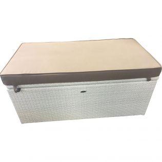 Lady dynbox/sittbänk i vit rotting