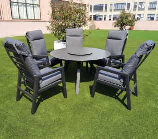 Jamaica rund matgrupp m. stort bord ø135 cm och 5 reclinerstolar i aluminium