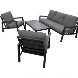 Jamaica loungegrupp m. bord, 3-sits samt två stolar i aluminium